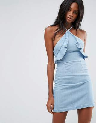 Asos Denim Ruffle Front Halter Neck Dress in Midwash Blue