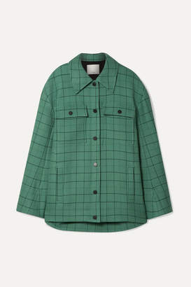 Tibi Oversized Checked Woven Jacket - Mint