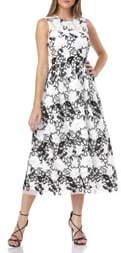 Carmen Marc Valvo Sleeveless Embroidered Midi Dress