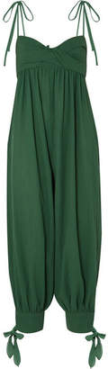 Three Graces London - Reed Twist-front Tie-embellished Cotton-gauze Jumpsuit - Forest green