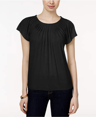 Style&Co. Style & Co Petite Pleated-Neck Top