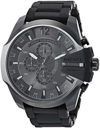 Diesel Men's Mega Chief Analog-Quartz Watch with Stainless-Steel-Plated Strap