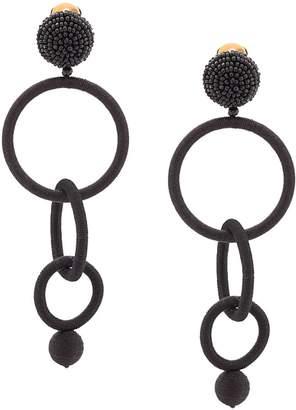 Oscar de la Renta texture drop hoop earrings