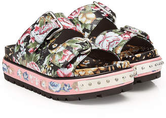 Alexander McQueen Printed and Studded Leather Sandals