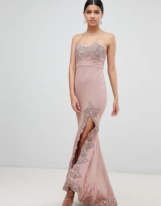 Love Triangle lace trim bandeau maxi dress with thigh split