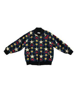Stella McCartney Tapestry Hearts & Stars Bomber Jacket, Size 4-14