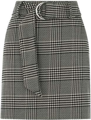 Next Womens Oasis Black Mono Check Belted Hattie Skirt