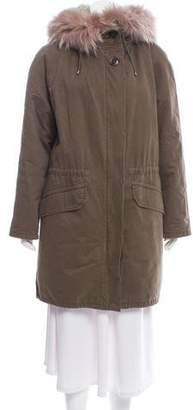 Yves Salomon Army by Fur-Accented Knee-Length Parka