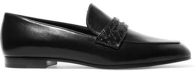 Bottega VenetaBottega Veneta - Intrecciato-trimmed Leather Loafers - Black