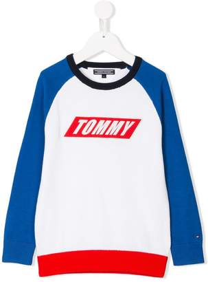 Tommy Hilfiger Junior colour-blocked crew-neck sweater
