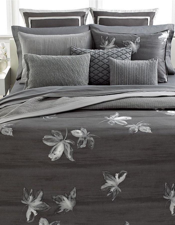 Vera Wang Charcoal Flower Queen Duvet Cover