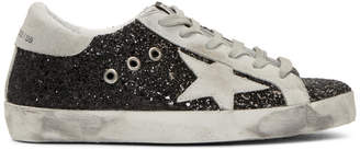 Golden Goose SSENSE Exclusive Black Glitter Superstar Sneakers