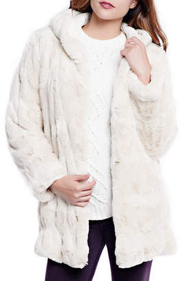 Couture Fabulous Furs Faux Fur Coat w/ Hood