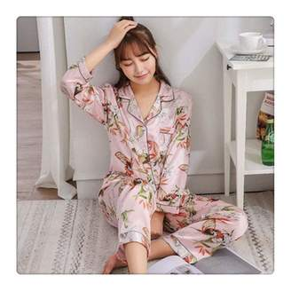 ba7af7676f7 at Amazon Canada · Queixiw Spring Autumn Women Satin Pajama Sets Long Sleeve  Print Sexy Silk Pyjamas Female Home Suit