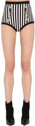 Balmain Striped Lycra Stretch Bikini Bottoms