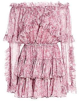 Caroline Constas Women's Dahlia Ruffle Off-the-Shoulder Silk Dress
