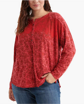 Lucky Brand Plus Size Printed Henley Top