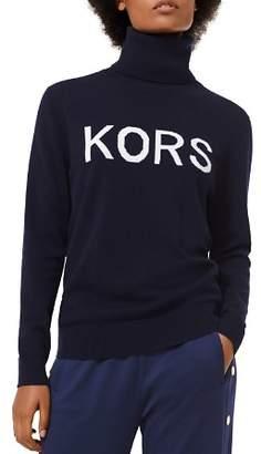 MICHAEL Michael Kors Intarsia Logo Turtleneck Sweater