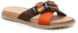 Charles David Pella Flat Sandal -Dark Brown/Orange - Women's