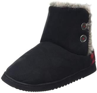 Dearfoams Women's Two-Button Boot with Memory Foam Hi-Top Slippers,7-8 Uk (40-41 EU)