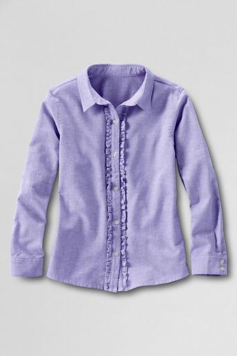 Lands' End Girls' Long Sleeve Ruffle Placket Oxford Shirt