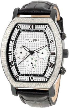 Akribos XXIV Homme AKR459BK Grandoise Multi Function Diamond Tourneau Swiss Quartz Montre