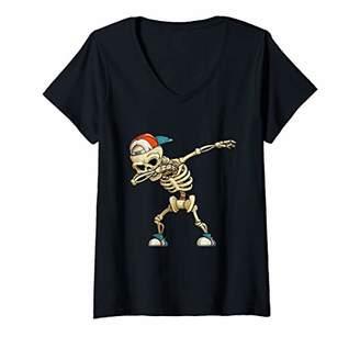 Womens Halloween Dabbing Shirt For Boys Girls Kids Skeleton Dab V-Neck T-Shirt