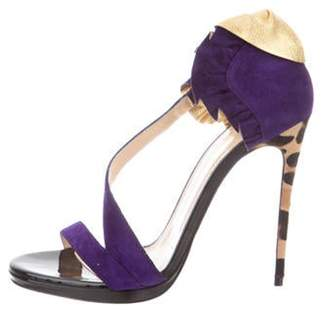Christian Louboutin Suede Ruffled Pumps Purple Suede Ruffled Pumps