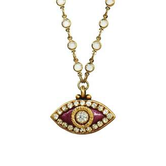 Michal Golan Jewelry 24k Gold Fuchsia Crystal Evil Eye Necklace