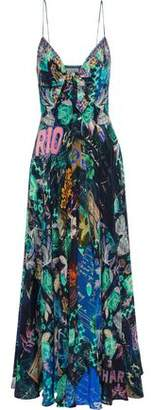 Camilla You've Got Mail Embellished Knotted Printed Silk Maxi Dress