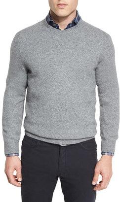 Ermenegildo Zegna Seamless Yak Crewneck Sweater, Gray $445 thestylecure.com