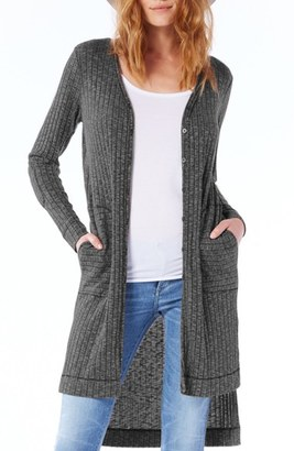 Women's Michael Stars Elbow Patch Long High/low Cardigan $98 thestylecure.com