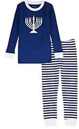 Sara's Prints KIDS' MENORAH-GRAPHIC COTTON TOP & PANTS SET-BLUE SIZE 7 YRS
