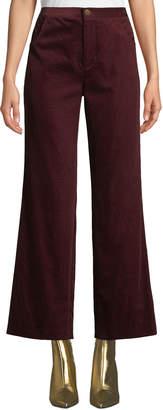 MiH Jeans Daily High-Rise Straight-Leg Velvet Jeans