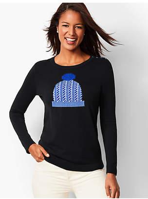 Talbots Pom-Pom-Cap Crewneck Sweater