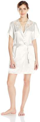 Cinema Etoile Women's Lace Trim Satin Wrap Robe