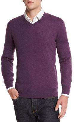 Neiman Marcus Cashmere-Silk V-Neck Sweater $195 thestylecure.com