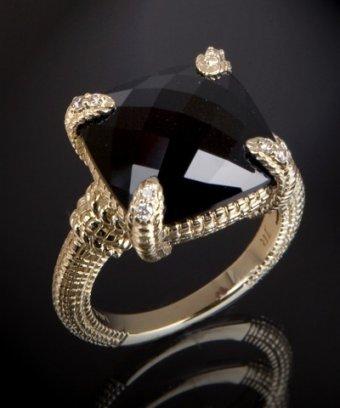Judith Ripka diamond and black onyx square stone ring