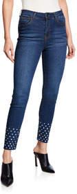 Raw-Edge Hem w/ Stud Embellishment Jeans