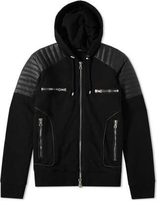 Balmain Hooded Leather Crest Jacket
