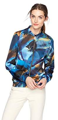 Daisy Drive Women's Tropical Floral Printed Bomber Jacket