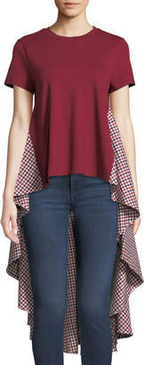 ENGLISH FACTORY Flared Back High-Low Gingham Top