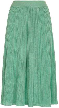 M Missoni Metallic Plisse Knit Midi Skirt