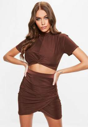 Missguided Soft Touch Slinky Wrap Crop Top