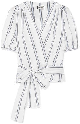 Paul & Joe Striped Cotton-blend Voile Wrap Top - White