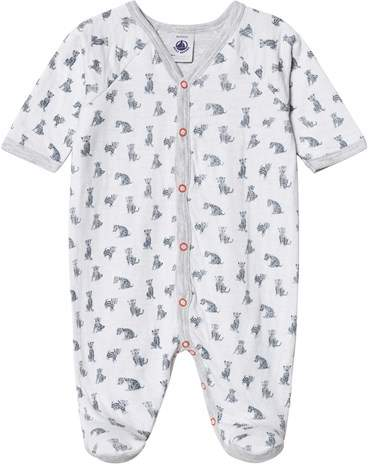 White And Blue Leo Print Baby Nightwear