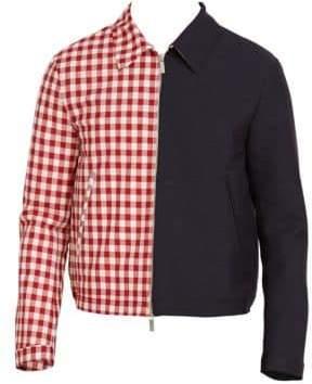 5ecddf874b3 Thom Browne Half Solid   Half Gingham Cropped Golf Jacket