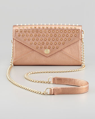 Rebecca Minkoff Studded Chain-Strap Wallet, Rose Gold