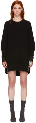 Alexander Wang Black Hybrid Varsity Sweater Dress