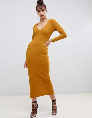 Asos Design DESIGN scuba crepe maxi dress with open back